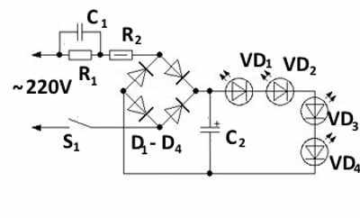 Бестрансформаторная схема ночника на светодиодах