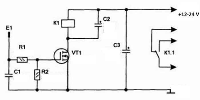 Сенсорный выключатель на полевом транзисторе