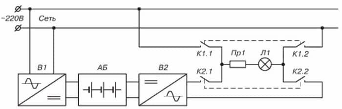 Схема с одним источником под любые лампы