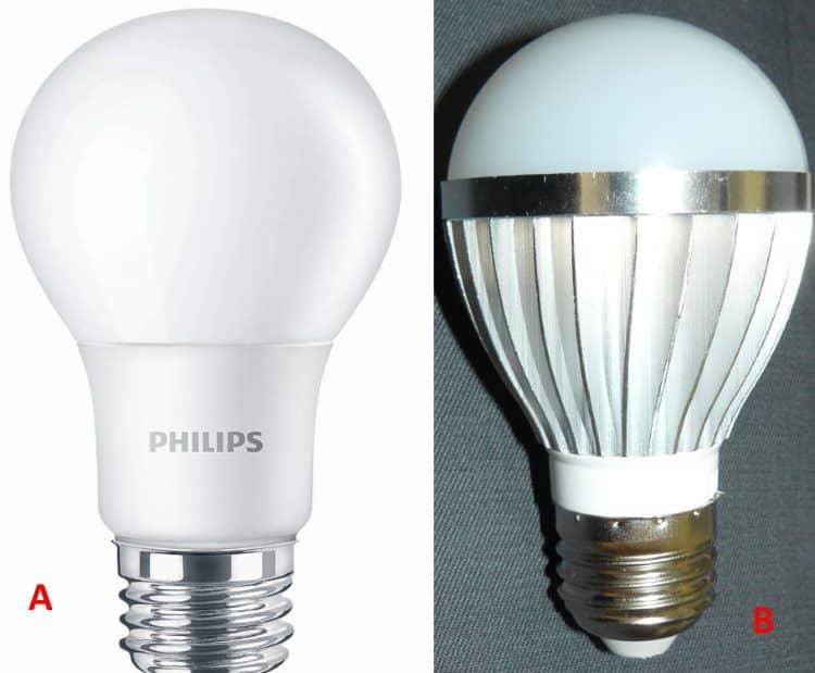 Лампа Филипс (PHLIPS); В - дешевое китайское изделие