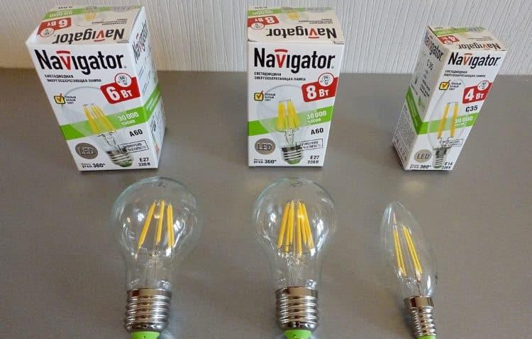 Лампочки бытовые Навигатор (Navigator) на светодиодных нитях