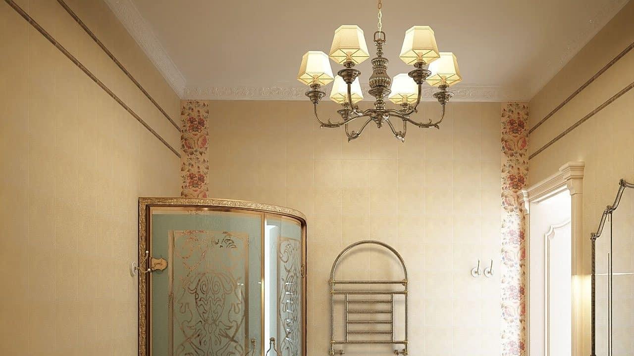 Потолочный прибор освещения в ванной