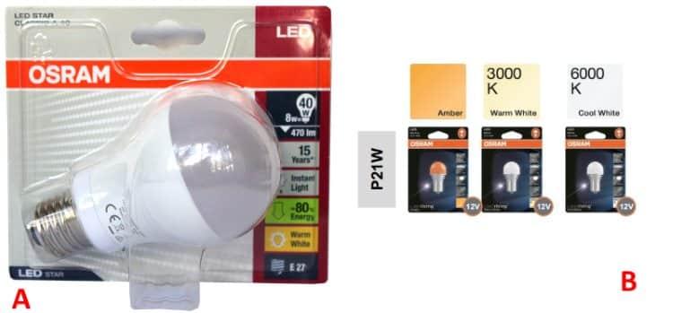 Светодиодные лампы Осрам (Osram) на 220 V (А) и маленькие на 12 V (B)