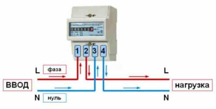 Схема подключения однофазного электросчётчика