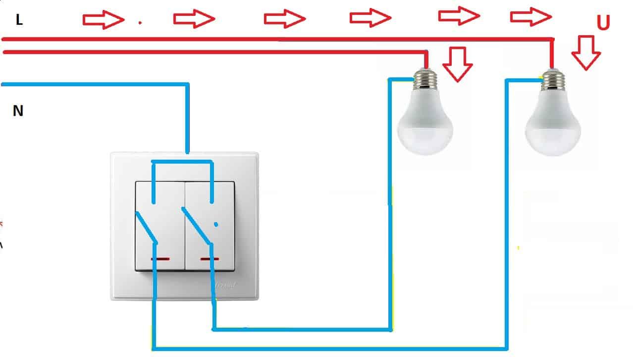 подключение нейтрального проводника в разрыв двухклавишного выключателя