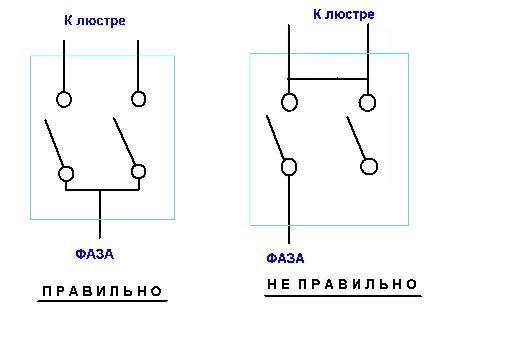 схема подключения двухклавишного выключателя к люстре