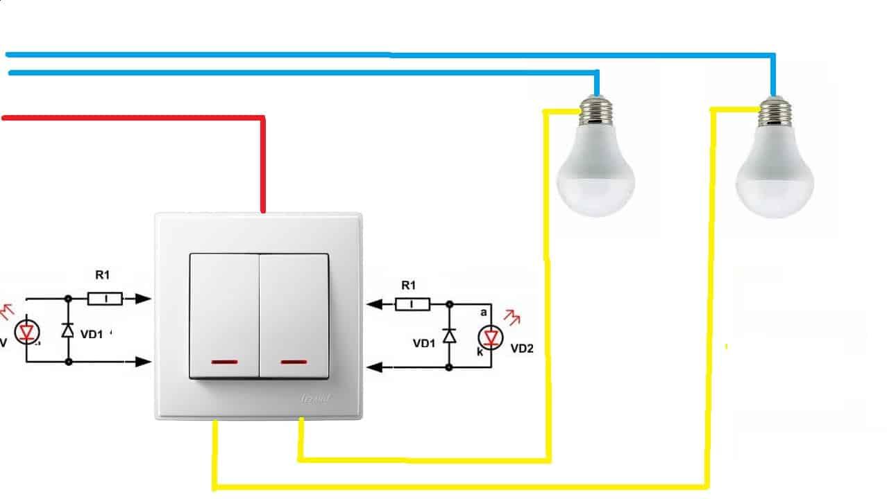 Схема подключения выключателя с подсветкой