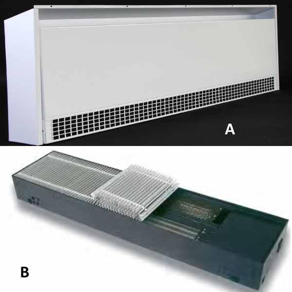 Встраиваемые в стену (A) и в пол (В) модели