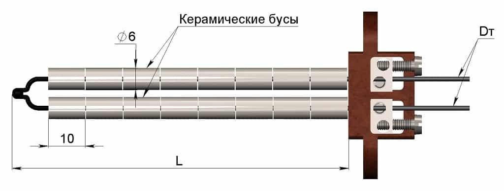 Термопара с керамическими бусами