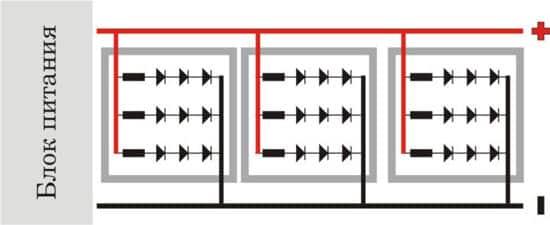 Схема светодиодной ленты с блоком