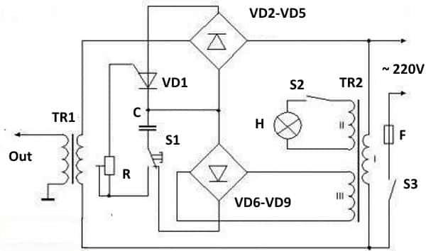 Пример принципиальной схемы аппарата