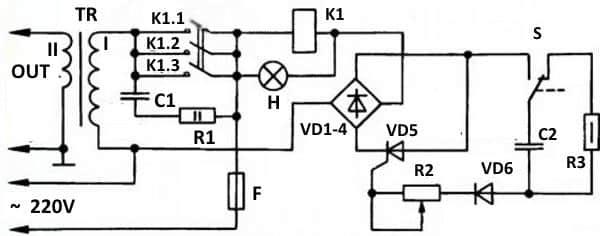 Схема аппарата с силой импульса до 2 кА