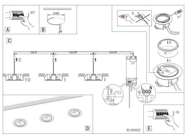 Схема установки светильника в мебель