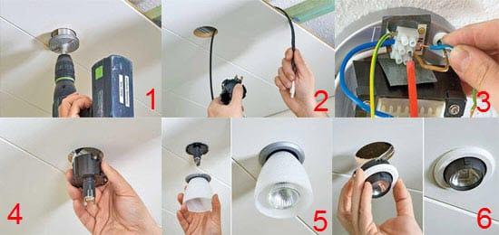 Установка светильника в потолок из гипсокартона