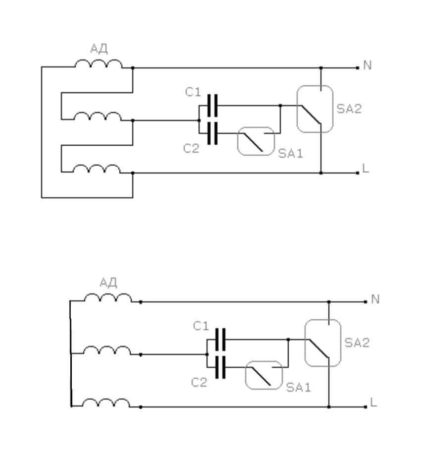 Схема включения с конденсаторами