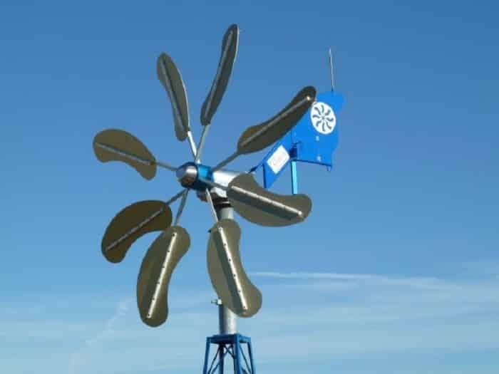Горизонтальный многолопастной ветрогенератор