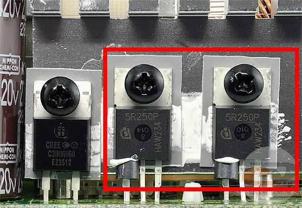 Показано размещение силовых транзисторов