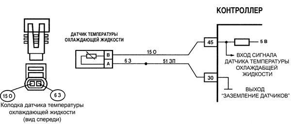 схема датчика температуры охлаждающей жидкости