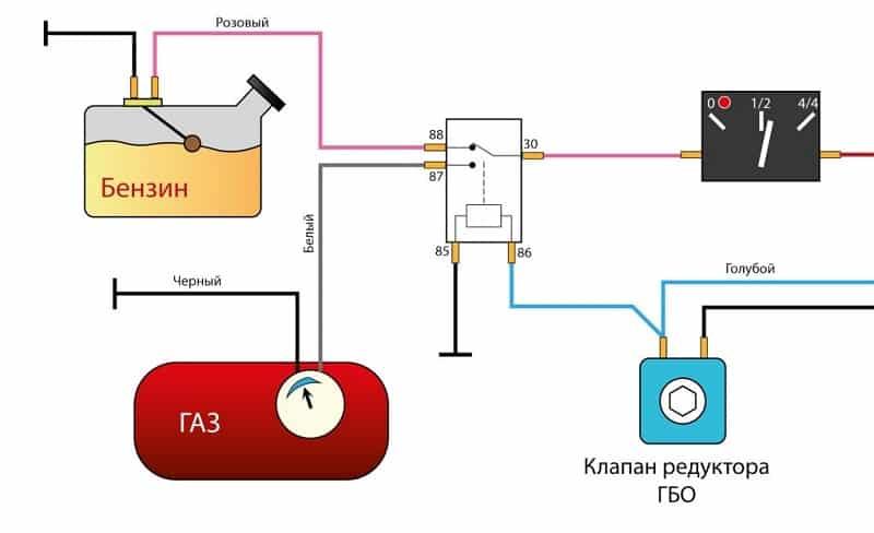 Схема подключения датчиков топлива и газа на общий стрелочный индикатор