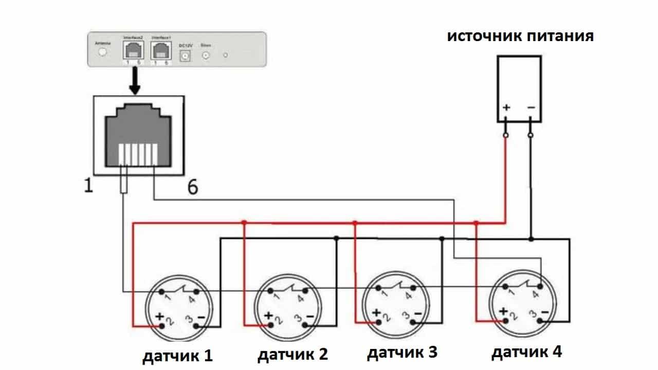 Схема подключения пожарного извещателя