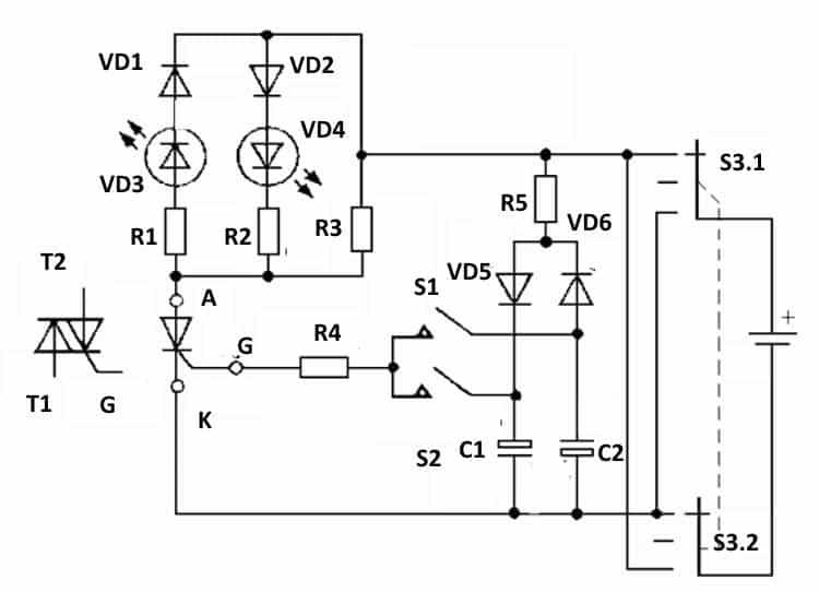 Схема для проверки тиристоров и симисторов