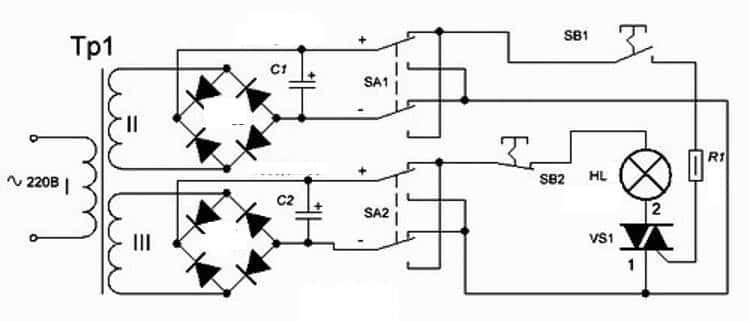 Схема простого тестера для симисторов