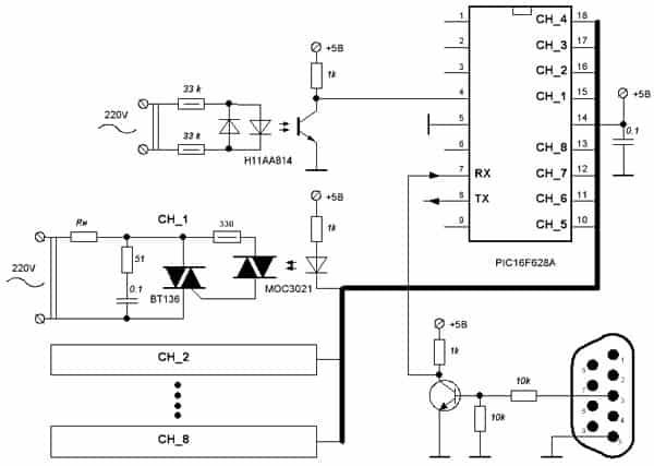 схема восьмиканального диммера