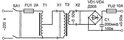 схема работы понижающего трансформатора