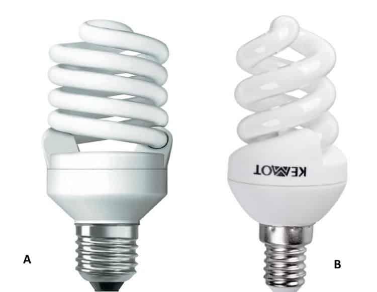 Компактные люминесцентные лампы с цоколем Е27 (А) и Е14 (В)