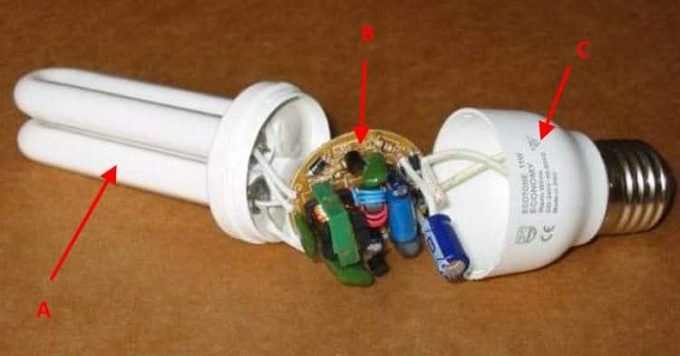 Основные элементы конструкции компактной люминесцентной лампы