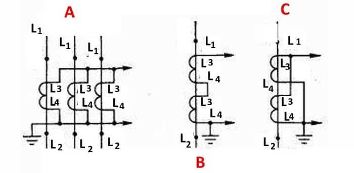Подключения: А – для суммы токов всех фаз, В и С - последовательное и параллельное включение двухобмоточных ТТ