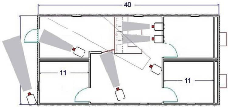 Пример схемы установки видеокамер