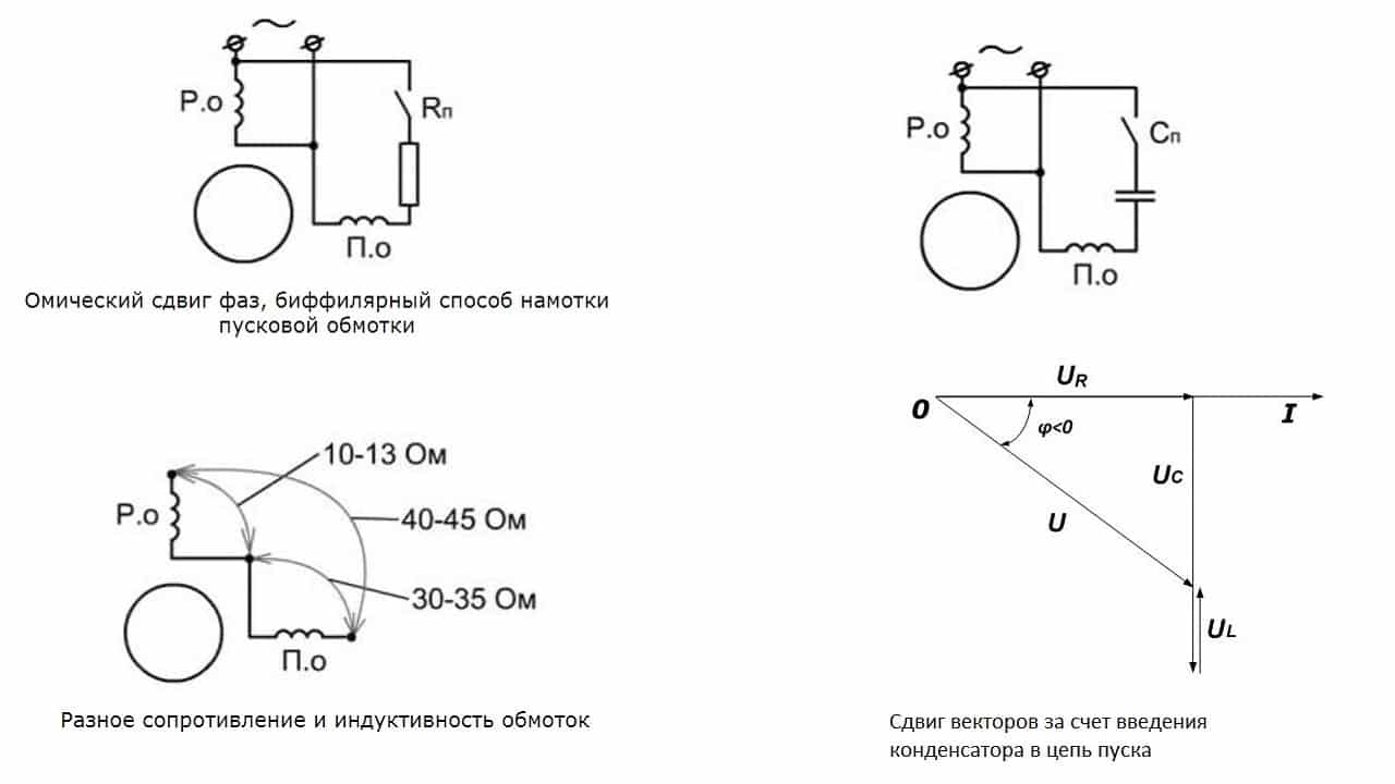 Пуск однофазного двигателя через конденсатор и сопротивление