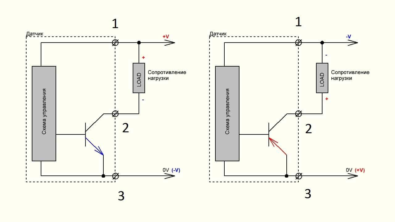 Схема подключения трехпроводного датчика индуктивности