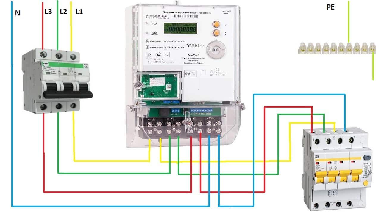 Схема прямого подключения трехфазного электросчетчика