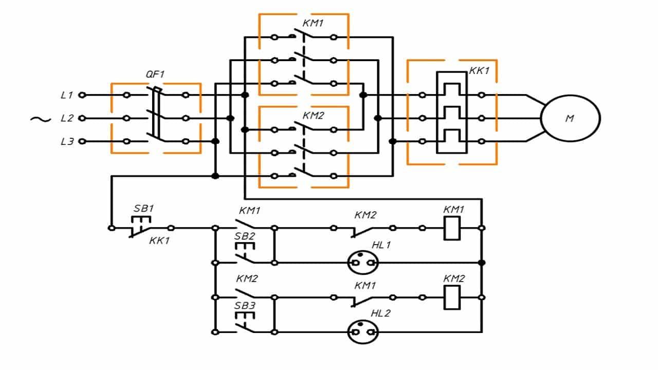Схема прямого включения с реверсом