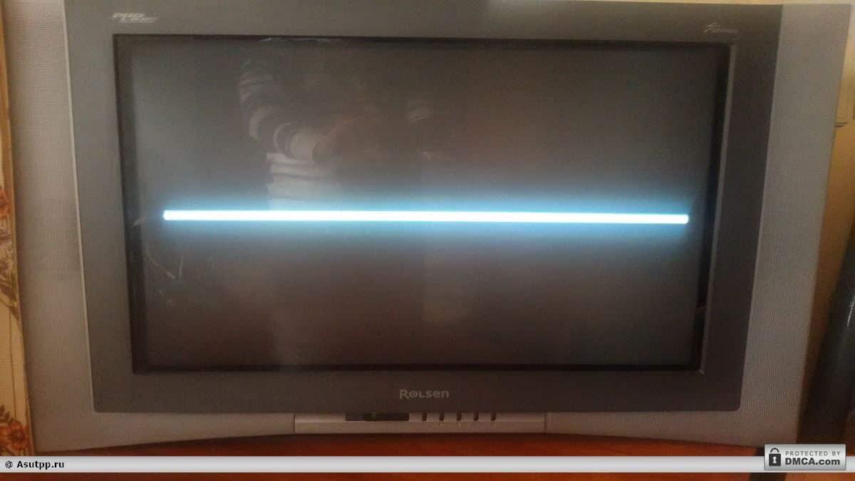 Белая горизонтальна полоса на экране ЭЛТ телевизора