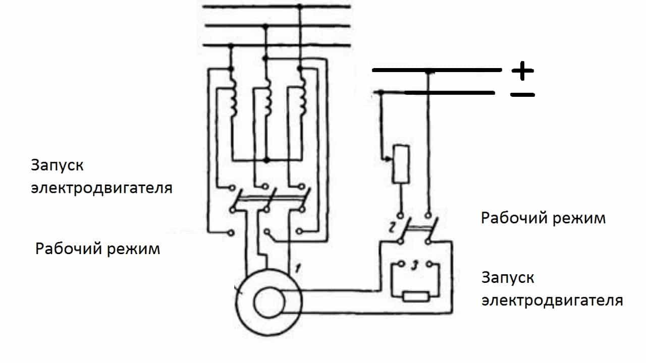Схема пуска синхронного двигателя