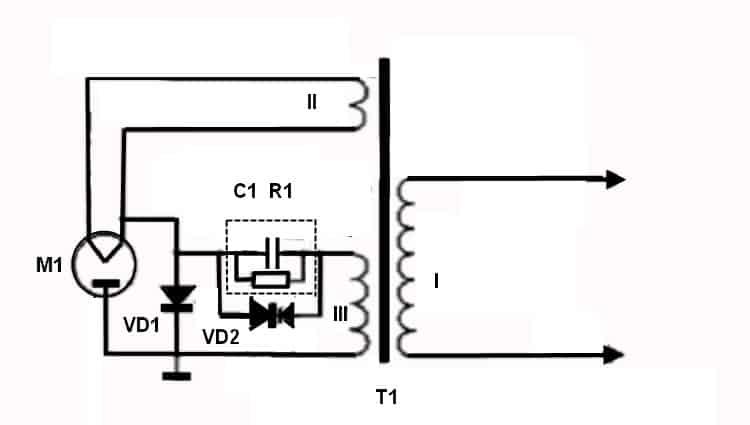 Типовая схема цепи питания магнетрона