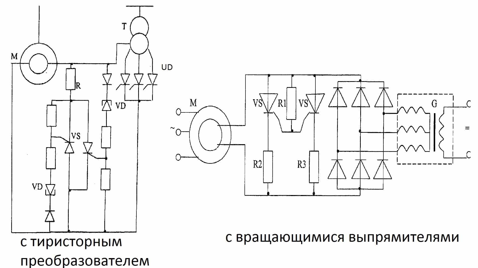 Тиристорная схема пуска синхронного двигателя