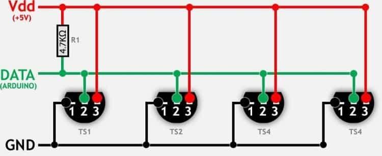 Пример подключения нескольких цифровых температурных датчиков