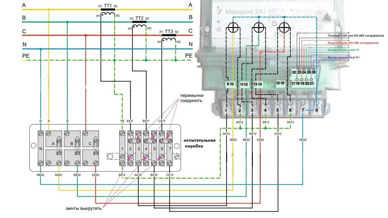 Схема полукосвенного подключения трехфазного электросчетчика