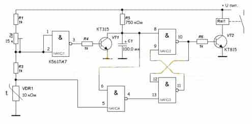 Схема терморегулятора с одним параметром регулирования на базе микросхемы К561ЛА7
