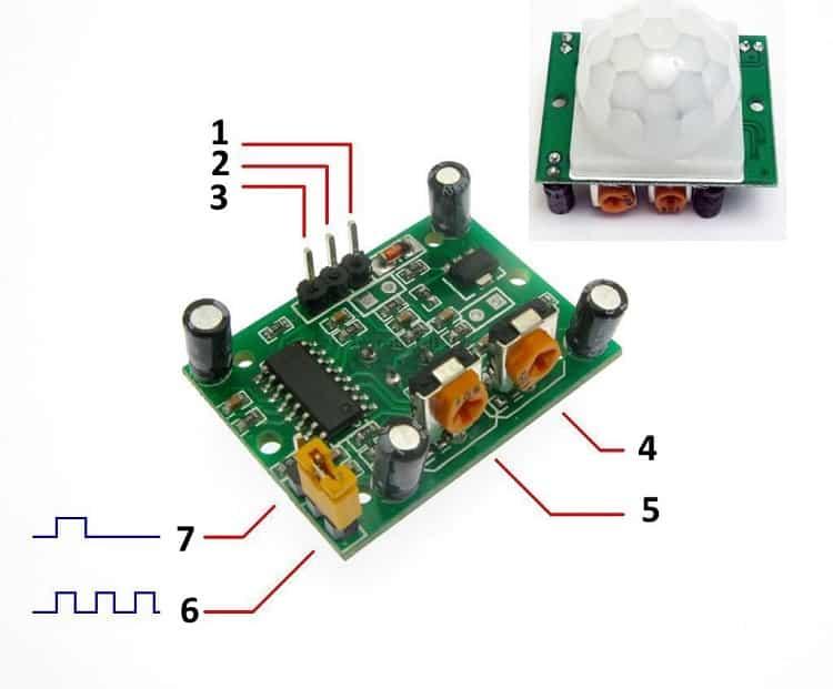 Внешний вид датчика движений HC-SR501 и его распиновка