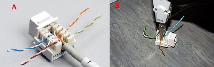 А – кабель с разведенными по фиксаторам проводами, B – запрессовка экстрактором