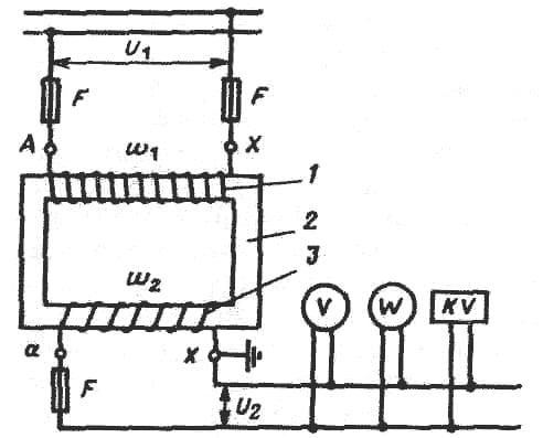 схема сухого измерительного трансформатора