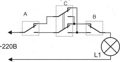 Подключение для управления освещением из трех разных мест