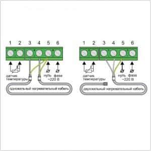 Пример подключения к регулятору одножильных и двужильных нагревательных кабелей