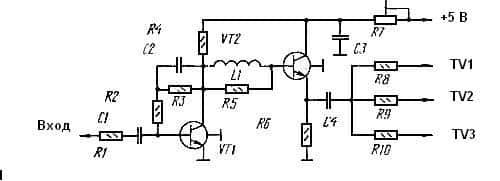 Схема делителя с антенным усилителем