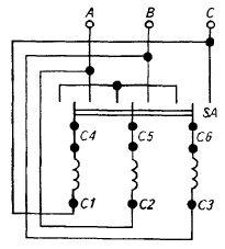Схема переключения обмоток электродвигателя
